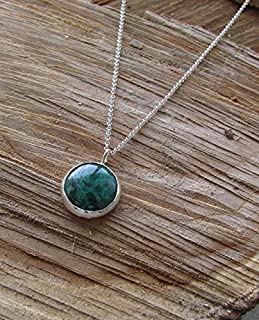 Green stone pendant, Eilat stone, King Solomon stone, turquoise pendant, raw stone pendant, 925 Sterling Silver, gemstone pendant, elegant