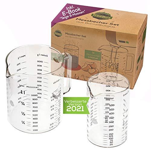 TreeBox Messbecher aus Glas mit Ausguss - 2er Set - Hitzebeständig und Mikrowellengeeignet - Verschiedene Maßeinheiten - Perfekt zum Backen, Kochen und Mischen