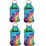 4 Piece Hand Sanitizer Bottle Holder Keyring-Ranxizy Neoprene Keychain for 30ML Gym Shampoo Lotion Soap Perfume and Liquids Travel Containers,Tie-dye