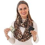 Infinity Scarf With 2 Zipper Pockets - Secret Hidden Travel Loop Scarves for Girls Women Men (leopard)
