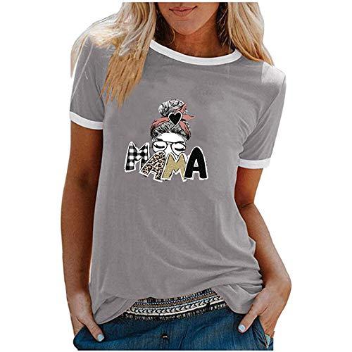 Camiseta de manga corta para mujer para el Día de la Madre, elegante, para verano, con estampado, estilo informal, básico, para adolescentes, niñas, mujeres, camisa, túnica, fitness, deporte gris L