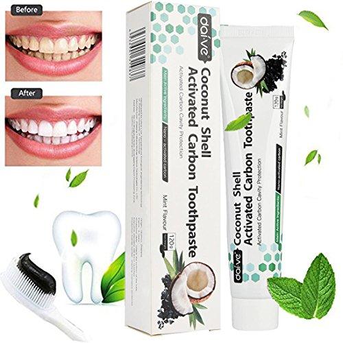 gaddrt Kokosnussschale aktiviert Holzkohle Zahnaufhellung Zahnpasta Natural Black Mint