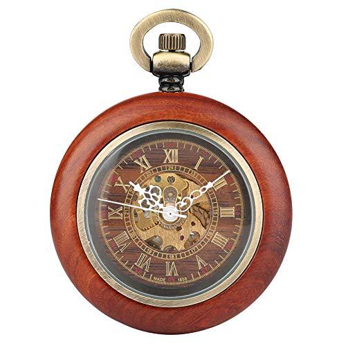 Orologio da tasca meccanico automatico da uomo in legno rosso con quadrante scheletro, orologio creativo