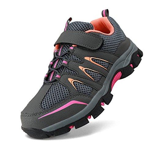Hawkwell Kids Outdoor Hiking Shoe(Little Kid/Big Kid),Grey Orange Mesh,1 M US