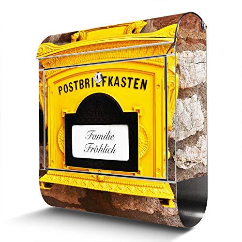 BANJADO Edelstahl Briefkasten mit Zeitungsfach | Design Motivbriefkasten | Briefkasten 38x43x12cm groß | Postkasten mit Montagematerial | 2 Schlüssel Motiv WT historischer Postkasten