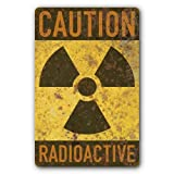 Nostalgic Funny Vintage Rustic Style Inspirational Art American Yesteryear Radioactive Caution Tin Steel Sign Nuclear Radiation Warning Symbol Rusted Design 8x12 Tin Sign