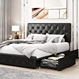 Kealive Faux Leather Upholstered Platform Bed Frame with 4 Storage Drawers, Adjustable High Headboard with Button Tufted Design, Wooden Slat Support, No Box Spring Needed, Queen Size, Black