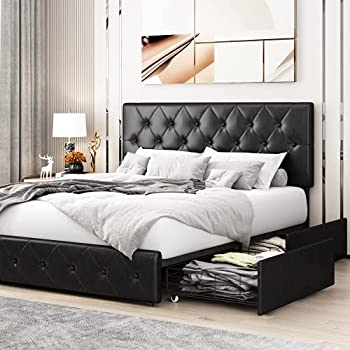 Kealive Faux Leather Upholstered Platform Bed Frame with 4 Storage Drawers Adjustable High Headboard with Button Tufted Design Wooden Slat Support No Box Spring Needed Queen Size Black