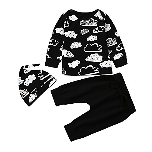Vovotrade®3PC Nouveau-né Infantile Bébé Fille Garçon Baby Girl Boy Cloud Print T-Shirt Tops + Pantalon Tenues Vêtements Ensemble Outfits Clothes + Chapeau (Black, 12M)