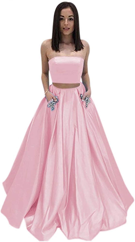 Ellenhouse Women's Satin 2 Pieces Aline Prom Party Dress Long Formal Gowns EL191