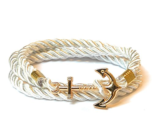 Nautical Nylon Rope Wrap Around Bracelet with Gold Colored Anchor Charm for Men Women Teen 22 Inch 2nd Gen (White)