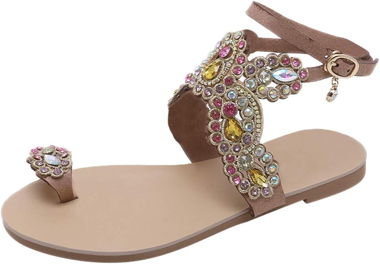 BESSKY Women Roman National Bohemian Beach Walk shoes Pinch Rhinestone Flat Sandals