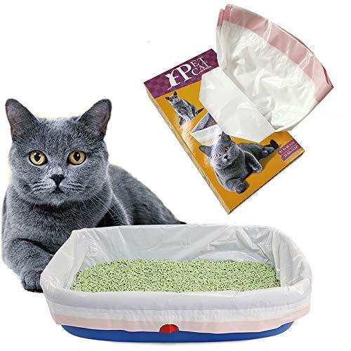 Byyx - Confezione da 10 sacchetti per lettiera per gatti con coulisse per lettiera per animali domestici (10 pezzi, grande)
