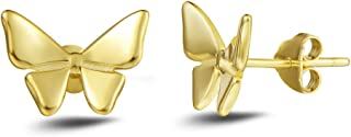 Yellow Gold Plated 925 Sterling Silver CZ Cubic Zirconia Butterfly/Starfish Pearl/Deer/Airplane/Anchor Stud Earrings For Women Girls