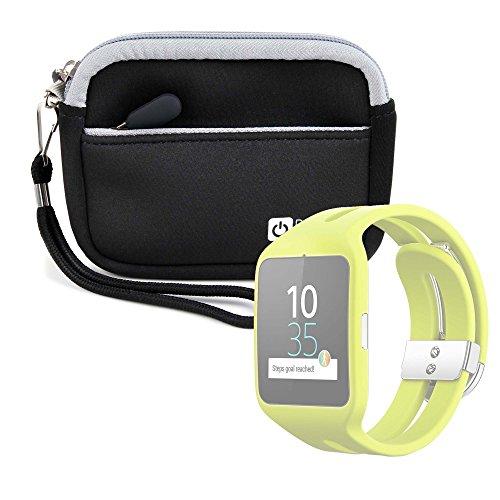 DURAGADGET Estuche De Neopreno Negro para Reloj Sony Smartwatch 3 Sport | Garmin Forerunner 230 + Correa Guardar Su Dispositivo!