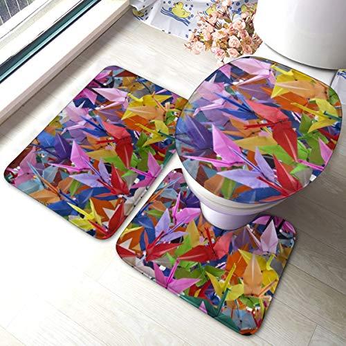 Meiya-Design Origami - Juego de 3 Alfombrillas de baño de Papel con diseño de grullas de Origami, Alfombra de baño Suave, Alfombrilla de Contorno y Tapa de Inodoro, combinación Comodidad