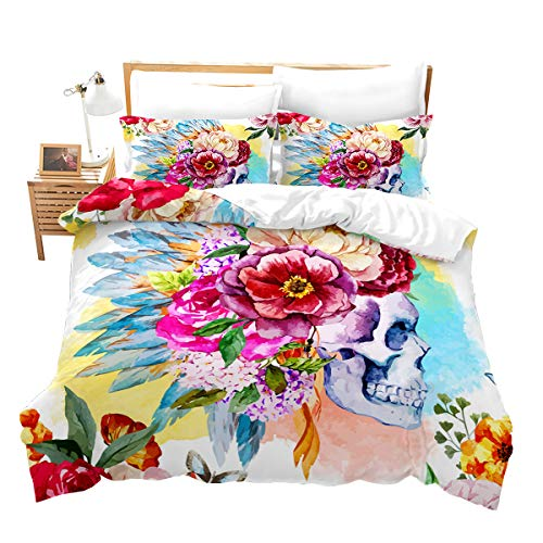 Feelyou Skull Duvet Cover Set King Size Skull and Flowers Bedding Set Boho Indian Feather Print Microfiber Polyester Comforter Cover Set Lightweight Luxury with 2 Pillow Shams, 3 Pcs Watercolor