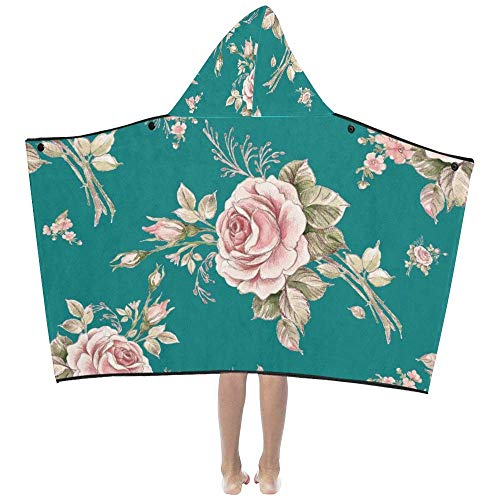 ADGoods Kapuzenhandtücher für Kinder Cartoon Floral Beautiful Rose for Lady Soft Warm Cotton Blended Kids Dress Up Hooded Wearable Blanket Bath Towels Throw Wrap for Child Girls Boys Home Travel Picn