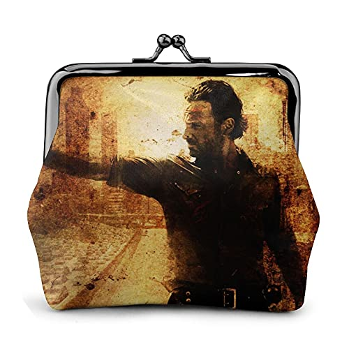 Walking Dead Monedero de cuero beso cerradura monedero cerrado cartera señora chica mujer mujer lindo negro tarjeta de crédito bolso bolso