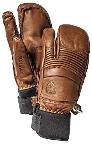 Hestra Mens Ski Gloves: Fall Line Winter Cold Weather Leather 3-Finger Mittens, Brown, 9