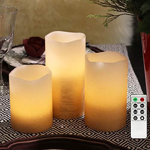 3 flammenlose LED Wachskerzen Kupfer Rustik-Design mit Fernbedienung und Timerfunktion, inkl. Batterien