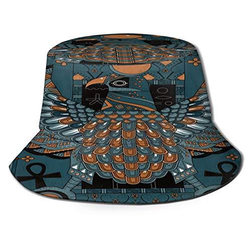 Fischerhut,Elegante Adler Malvorlagen im ägyptischen Stil,Unisex Sonnenhut Bucket Hat Anglerhut Fishermütze Outdoor Faltbar Cap