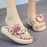 Zapatillas Casa Chanclas Sandalias Zapatillas De Playa Rojas De Gran Tamaño De Moda para Mujer Chanclas De Flores De Perlas Multicolores-Creamy-White3_7