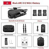NA JJRC X12 Anti-Shake 3 Axis Gimble GPS Drone WiFi FPV 1080P 4K HD Camera Brushless Motor Foldable Quadcopter Vs H117s Zino Black 4k 3 Batteries