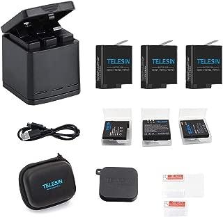 TELESIN GoPro Hero 8black/Hero 7black/Hero 6/Hero 5/gopro hero用互換バッテリー3個 ボックス収納式 USB充電器付き 3個バッテリーケース付き Type-Cインターフェイス 3個同時充電可能 (充電器+3バッテリー+type-c)