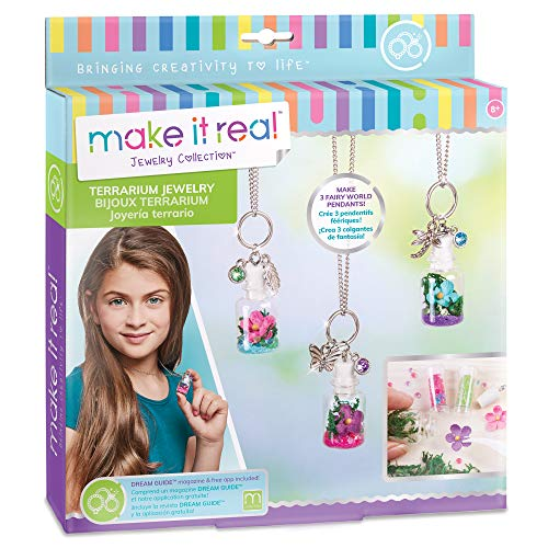 Make It Real – DIY Terrarium Jewelry. Terrarium Bottle Pendant Making Kit for Girls. Arts and Crafts Kit to Design and Create Beautiful Terrarium Pendants with Flowers, Gems, and Charms
