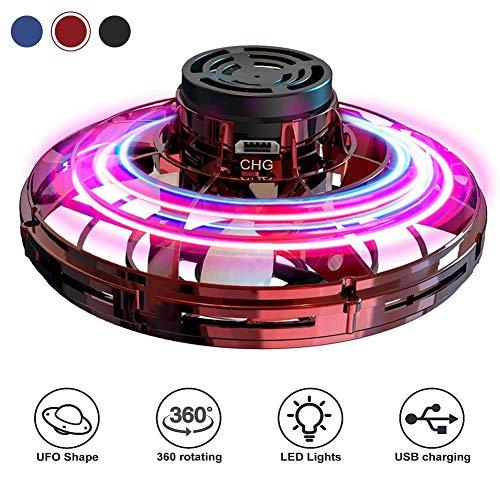 Abree UFO Flying Ball, Mini Drohne Handgesteuerter Fliegender Ball, Fingerkreisel Flugspielzeug mit 360°Rotierenden und LED-Leuchten für Kinder und Erwachsene (Rot)
