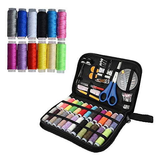 Sewing Kit -DIY Premium Sewing Supplies,Filled with Mending and Sewing Needles, Scissors, Thimble, Thread,Tape Measure, Best Mini Sew Supplies Set for Home,Travel & Emergencies