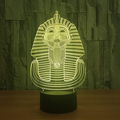 Solo 1 pieza Faraón egipcio Lámpara LED 3d Dormitorio acrílico Lámpara de noche 3d Mini interruptor táctil remoto Precioso 7 cambio de color Lámparas de luces para niños