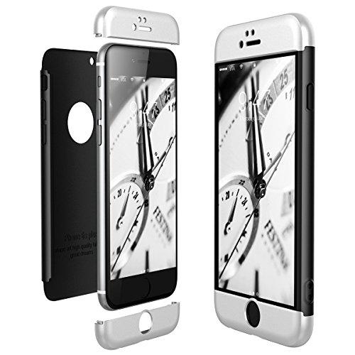 CE-Link Cover per Apple iPhone 6 6S 360 Gradi Full Body Protezione, Custodia iPhone 6 Silicone 3 in 1 Antishock e Antiurto, iPhone 6S Case - Argento + Nero