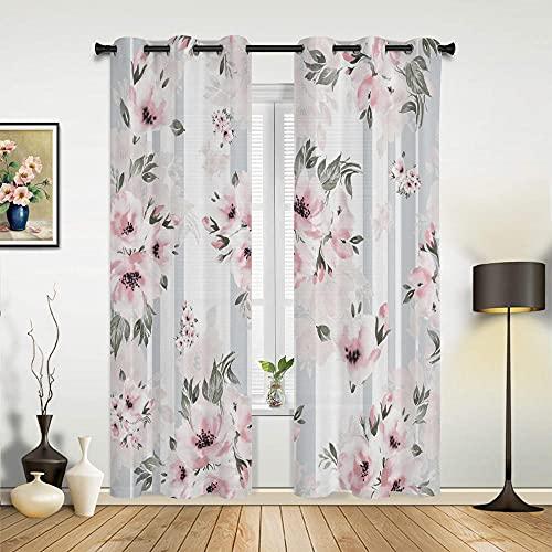 2er Set Verdunklungsvorhang Weißes Rosa Pfirsich-Blumenmuster Ösenvorhang Soft Blickdicht Vorhang Wärmedämmung und Geräuschreduzierung für Schlafzimmer Wohnzimmer(140x250 cm x2)