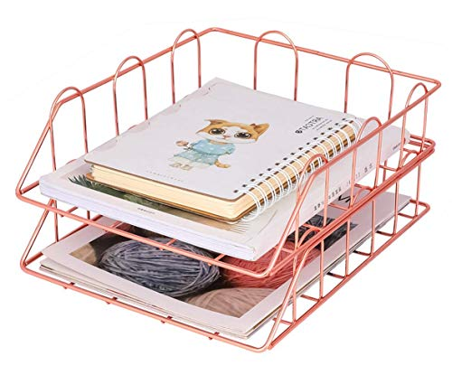 EasyPAG Stapelbare A4-Ablagefächer, 2 Ebenen, für Büro, Schreibtisch, Dokumente, Briefpapier rose gold