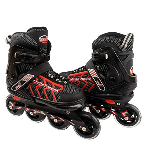 ELIITI Inline Skates for Men Women Adults Adjustable Size 7 to 11 (Red, L (US 7 to 9))
