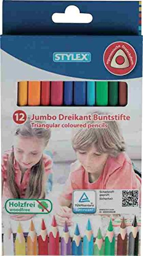 STYLEX 25092 Jumbo Dreikant Buntstifte, Holzfrei, 12-er Set