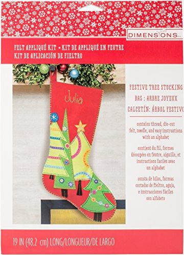 DIMENSIONS Festive Tree Wool Felt Christmas Stocking Kit, 19''