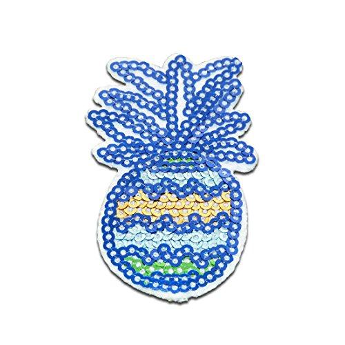 Ananas Obst Frucht mit Pailletten - Aufnäher, Bügelbild, Aufbügler, Applikationen, Patches, Flicken, zum aufbügeln, Größe: 6,5 x 3,8 cm