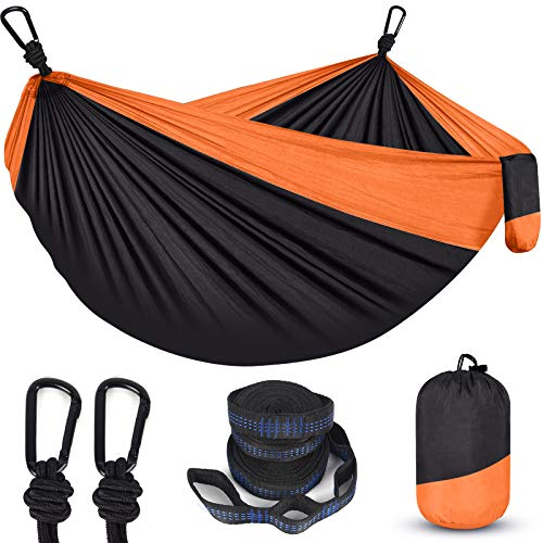 Hammock,Camping Hammock for Outside Travel,Portable Double Outdoor Hammock with Tree Straps(18+1 Loops)&Heavy Duty Carabiners,2 Person Nylon Survival Hammocks for Tree,Hiking,Backpacking