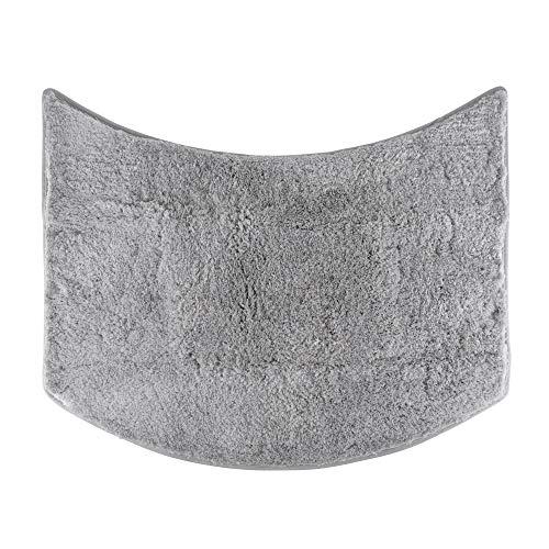 FLUFFY Badteppich für Rundduschen, Hochflor aus Mikrofaser, rutschfeste Unterseite (Grau)