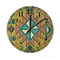 Lutd23apir Wall Clocks 13 by 13 Inch Simply Aztec Pixel Pattern Round Wooden Clock Silent & Non-Ticking Rustic Country Home Decor for Office Living Room,Bedroom,Kitchen