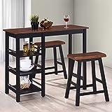Festnight- Bartisch Set mit 2 Barhocker | Sitzgruppe aus MDF-Holz | Balkonset Essgruppe Küche Esszimmer Bar Schwarz und Braun