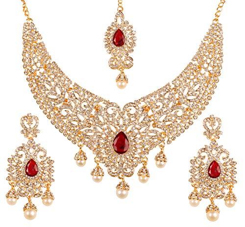 Bollywood Indio De Novia Collar Chapado En Oro Joyería de Moda Traje pendiente conjunto