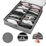 Awekris Under Bed Shoe Storage Organizer, Shoe Container Fits 12 Pairs Foldable with Carry Handles Large Clear Window for Men & Women Shoes Underbed Storage Solution Space Saving