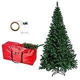 Árbol de Navidad artificial de 180cm/71' de pino verde tradicional con soporte, bolsa de almacenamiento para árbol de Navidad y cadena de luces de hadas de 10 m para Navidad, decoración del hogar