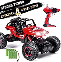 INGQU 1:14 Remote Control Car 4WD Off Road Monster Trucks with Head Lights 2.4Ghz Rock Crawler Electric Hobby Toy Red (Red)