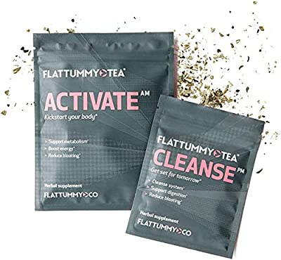 Flat Tummy 2-Step Detox Tea – 2 Week Program – Detox Tea to Boost Energy, Speed Metabolism, Reduce Bloating - All Natural Detox Tea Cleanse w/ Green Tea, Dandelion, Fennel, & More from Synergy Chc Corp Hpc