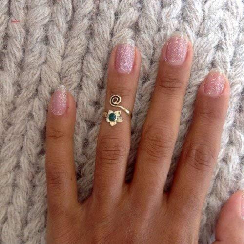 Silberner Knöchelring - silberner Midi Ring - silberner Manschettenring - silberner Stapelring - oberer Fingerring - verstellbarer Ring - minimaler Silberring